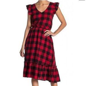 ABOUND NEW Red Black Ruffle Plaid Dress